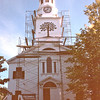 Greenock Presbyterian Church - St. Andrews by the Sea, New Brunswick, Canada  8-25-97<br /> The pulpit and minister's and precentor's platforms are constructed without nails.  Notice the hand carved green oak tree on the steeple.  This is the emblem of the town of Greenock (Green Oak), Scotland.