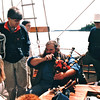"Maurice Leger, Better Known As Bear is Very Muscially Talented - S/V ""Cory"" - St. Andrews by the Sea, New Brunswick, Canada  8-25-97<br /> He played the fiddle, mandolin, Irish drum, penny whistle, and bagpipes."