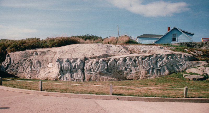 William E. Garthe Memorial Park - Peggy's Cove, Nova Scotia, Canada  8-31-97<br /> Monument dedicated to Canadian fisherman.