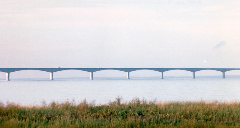 View Before Crossing Over - Confederation Bridge That Goes From New Brunswick to Prince Edward Island, Canada  8-26-97