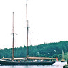 Bluenose II, Replica of the Original Schooner - Lunenberg, Nova Scotia, Canada  9-1-97<br /> The replica was built in July 1963.  Lunenberg's shipyards produced many swift and able fishing schooners, none more famous than the Bluenose built in 1921.  It was the undefeated champion of the N. Atlantic fishing fleet and winner of 4 international schooner races.  Her fame won her a place on the back of the Canadian dime.