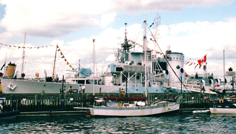 H.M.C.S. Sackville- Halifax, Nova Scotia, Canada  8-31-97<br /> H.M.C.S. = His Majesty's Canadian Ship.  One of the last remaining World War II corvette convoy-escort ships, docked at Sackville Landing adjacent to the Maritime Museum of the Atlantic.