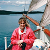 "Donna Loving the Tall Ship Sail - S/V ""Cory"" - St. Andrews by the Sea, New Brunswick, Canada  8-25-97<br /> So peaceful without motors running."