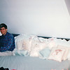 Randal in King-size Bed - Mahone Bay, Nova Scotia, Canada  8-31-97<br /> The only king-size bed we had seen on our trip.  The house was full of paintings and collectibles from around the world.  This was the day we learned that Princess Diana was killed.