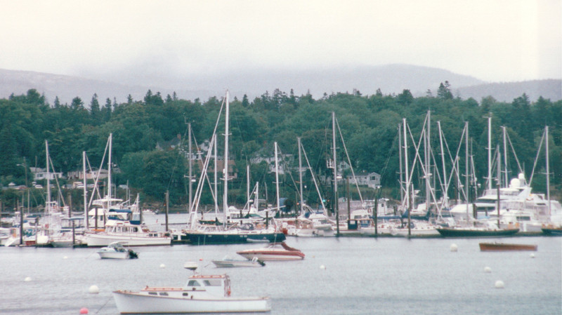 Looking Across Harbor to Ellsworth, Maine  9-3-97<br /> Had lunch at The Riverside Cafe and drove to the airport to depart for Sweet Home Alabama.