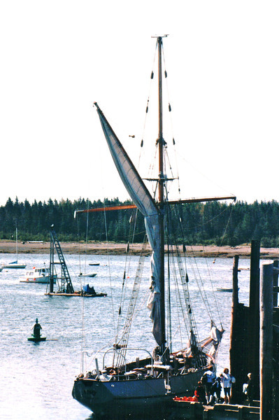 Our First View of Ship, S/V Cory, We're to Sail On - St. Andrews by the Sea, New Brunswick, Canada  8-25-97