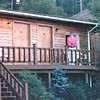 Donna on Porch Outside Our Room - Fundy Lodge Motel - St. George, New Brunswick, Canada  8-25-97