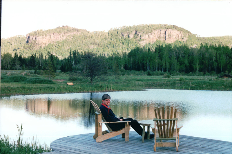 Randal Relaxing at Pond with Great Views - Best Western Hotel - Thunder Bay, Ontario, Canada  6-2-99