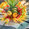 Fruit kebabs - breakfast at Royal Livingstone Hotel