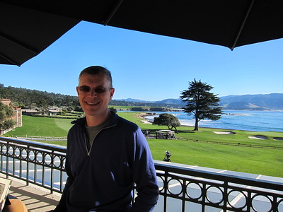 lunch overlooking 18th-hole at Pebble Beach golf course