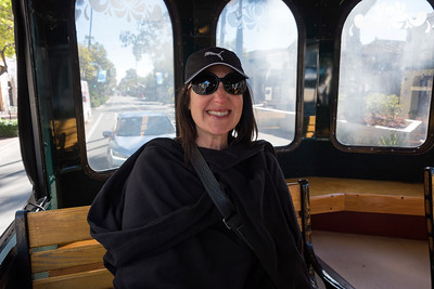 Street trolley in Santa Barbara, drove to Montecito & Butterfly Beach.