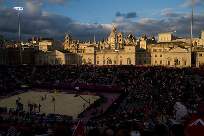 sunset at the beach volleyball venue at Horse Guards Parade
