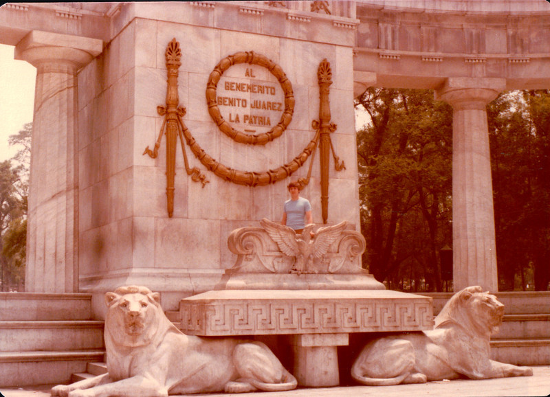 Benito Juarez Monument - Mexico City - May 1979<br /> On the south side of Alameda Central park, facing toward the street is the Hemiciclo a Juárez, which is a large white semi-circular monument to Benito Juárez, who is one of Mexico's most beloved presidents.