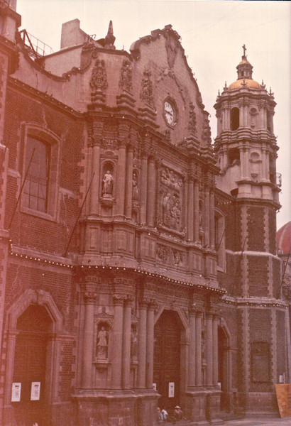 Basilica de Guadalupe - Mexico City - May 1979<br /> The very famous Basílica of Guadalupe -- not just another Catholic church, but the central place of worship for Mexico's patron saint and the home of the image responsible for uniting pre-Hispanic Indian mysticism with Catholic beliefs. It is virtually impossible to understand Mexico and its culture without appreciating the national devotion for Our Lady of Guadalupe. The blue-mantled Virgin of Guadalupe is the most revered image in the country, and you will see her countenance wherever you travel.