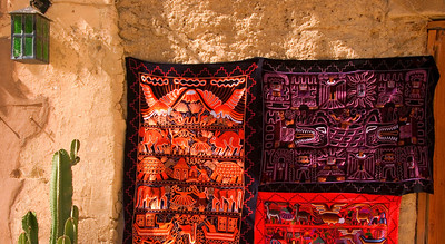 tapestries for sale in ollantaytambo, peru