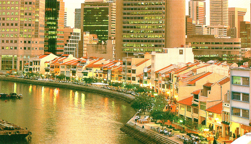 Postcard:  Traditional Shophouses and Skyscrapers Along the Singapore River - Singapore
