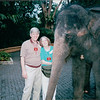 Randal and Donna with Elephant - Dinner at Night Safari - Singapore - March 2002