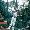 Donna Playing on the Swinging Bridge - Hindhede Nature Park, Part of Bukit Timah Nature Reserve - Singapore - March 2002