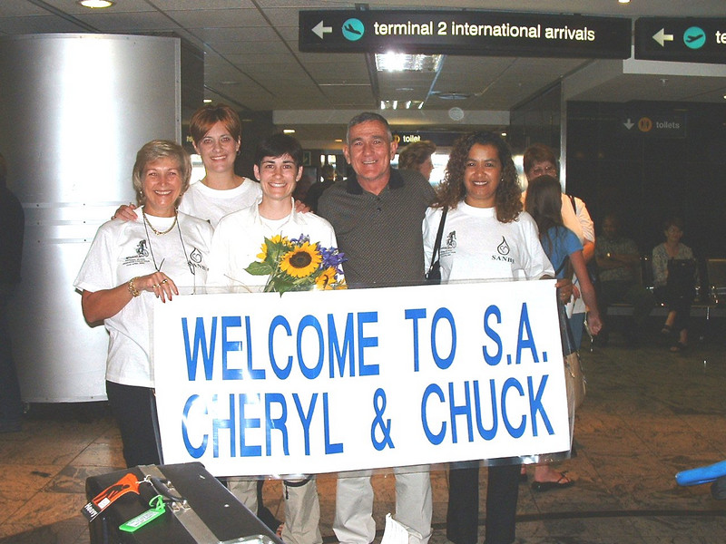 We were met at the airport by Diane Di Coning and her staff (SANBS).<br /> Diane was responsible for bringing the American riders to SA.<br /> A great woman.