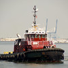 Red tugboat in Charleston Harbor