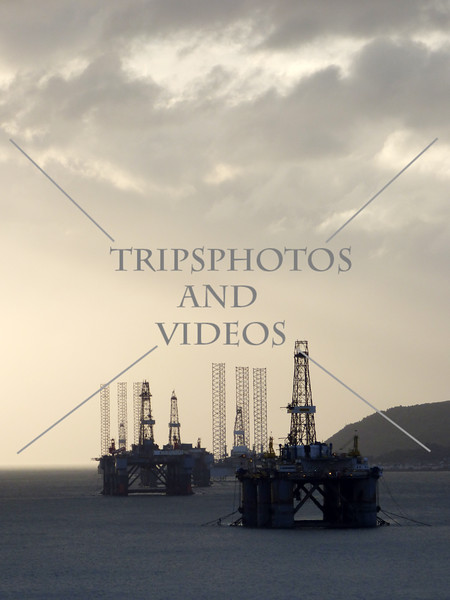 Inactive oil rig platforms along the harbour and cruise port of Invergordon, Scotland.