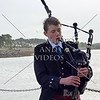 A young man plays the bagpipe at the cruise port terminal in Invergorden, Scotland.