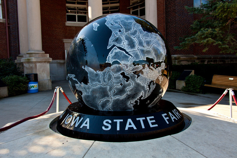 An 8' polished-stone ball rotating on a film of water, the Welcome Sign for the ISF.