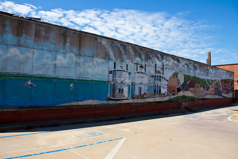 Mural one block from the Mississippi River in Burlington, IA