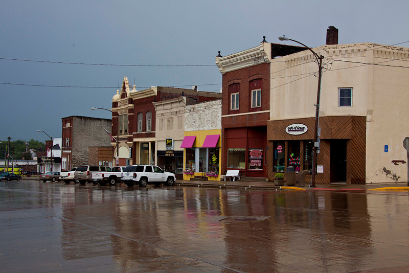The main part of Main Street, Gladbrook, IA. The restaurant/religious book shop is on the right.
