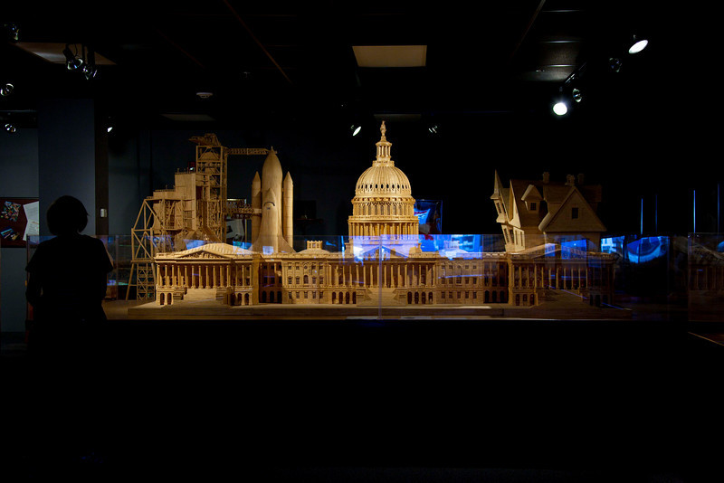 The US Capitol. 478,000 matchsticks, 10 gallons of carpenter's glue. 2,000 hours of labor between 08/23/1999 and 04/01/2001. 1/65 scale, 12' long and 5.5' high. See closeups that follow.