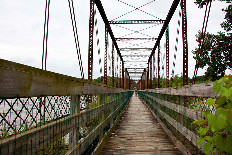 Foot bridge, formerly a railroad bridge, over the Mississippi River at Bentonsport, IA. IL is on the other end.