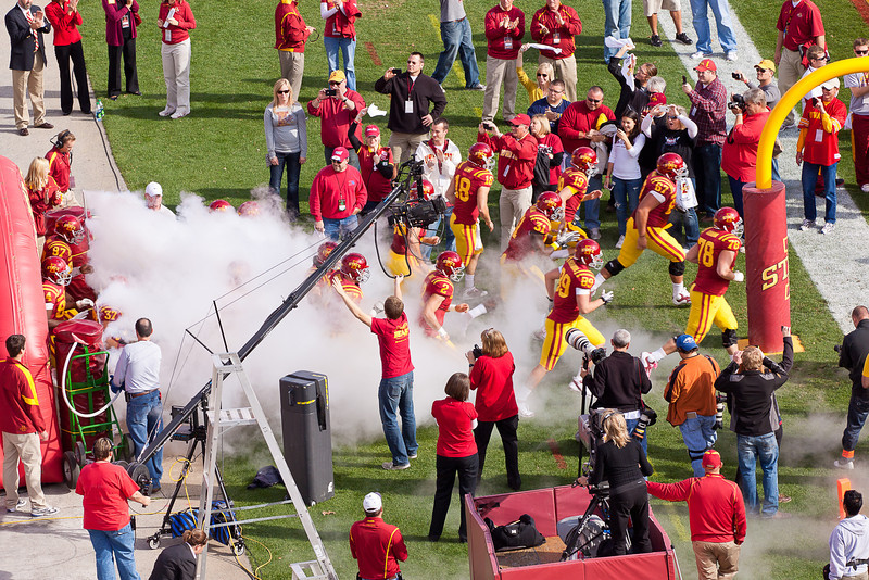 The Cyclones emerge from a tunnel and fog.