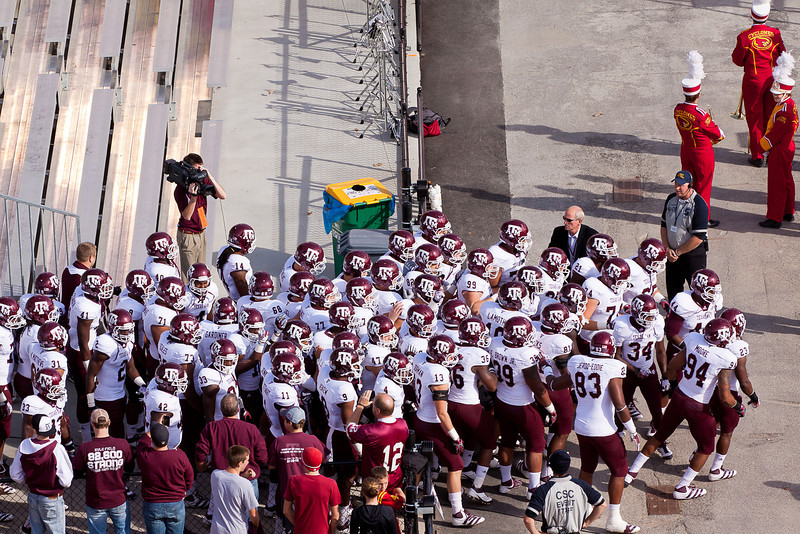 The Aggies of Texas A&M University enter Jack Trice stadium.