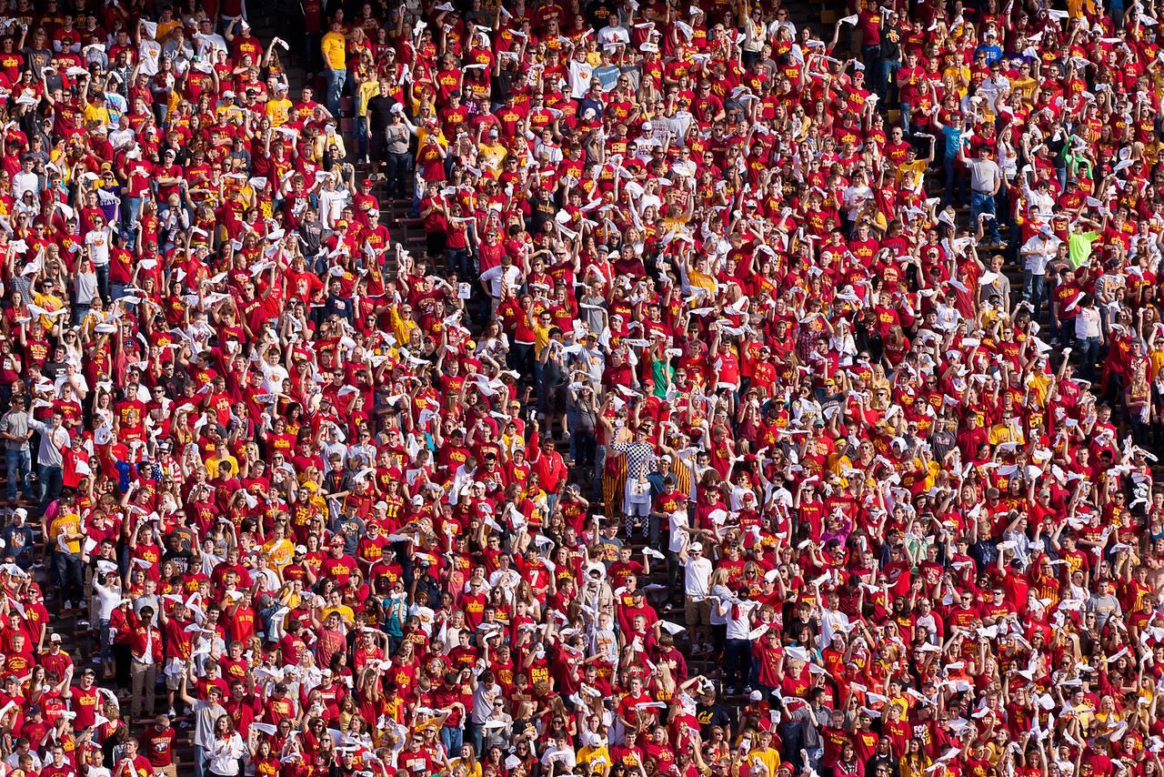 The student body decked out in the school colors of Cardinal and Gold.