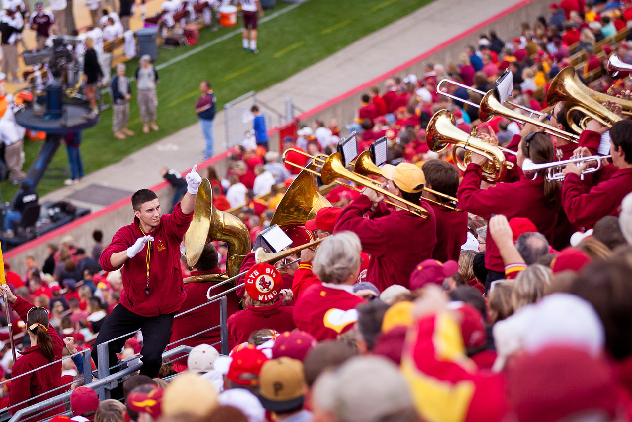 The band and the alumni band work through the stands during the second half and play at various points on the stairs.