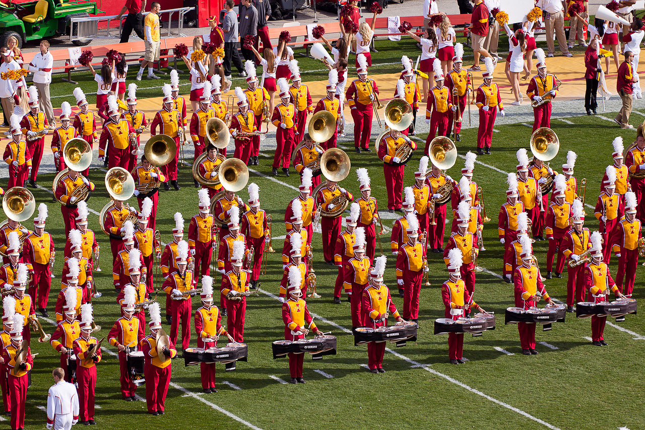 This band looked great on the field in their bright colors.