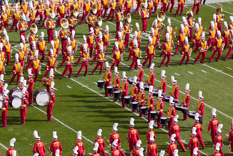 The Iowa State marching band at the pre-game.
