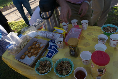 A typical spread for our afternoon tea on the road.