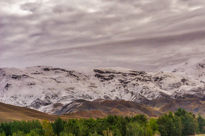 Snow in the mountains can be seen as we return to Tabriz
