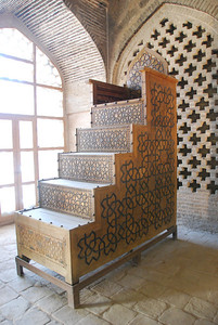 Intricately carved minbar (pulpit) inside the Jameh Mosque in Isfahan