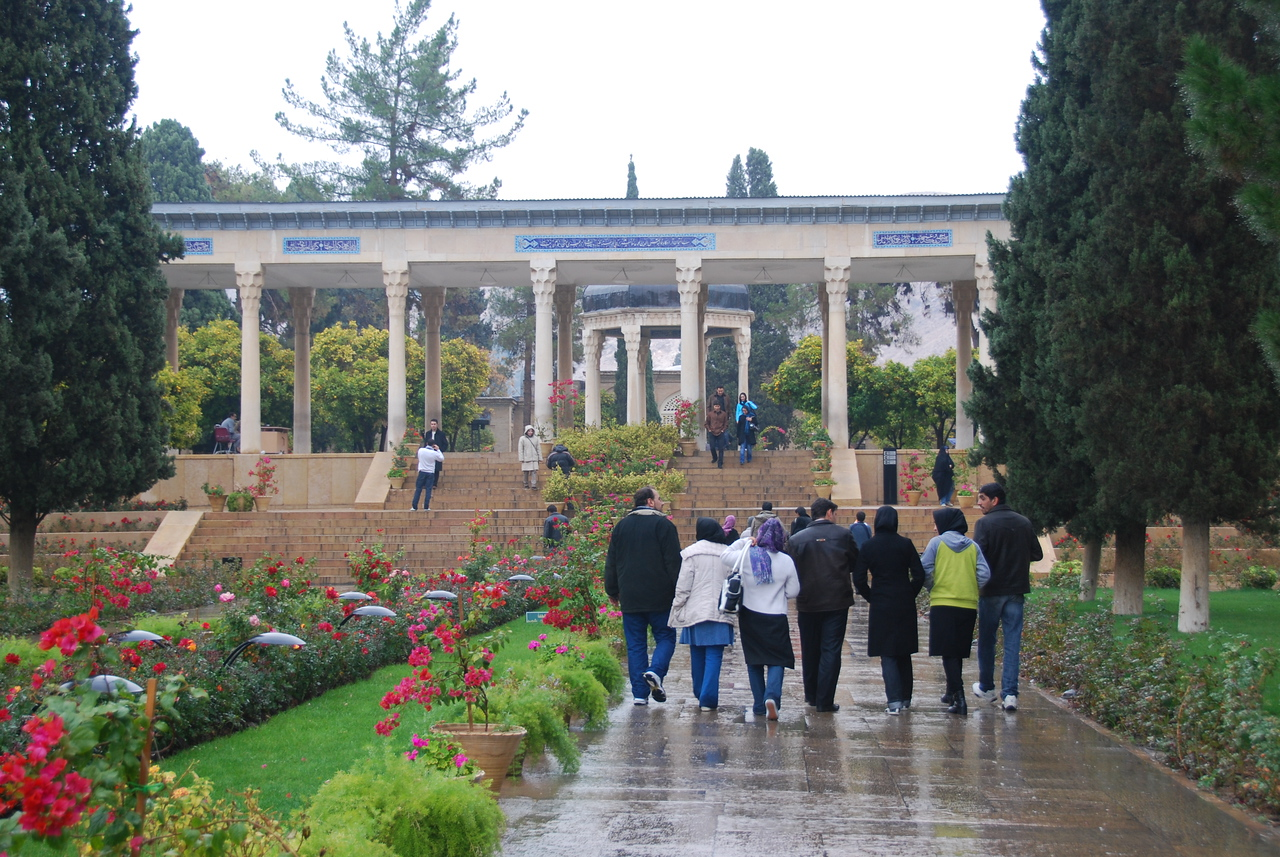 The beautiful gardens at the tomb of Hafaz in Shiraz, Iran.