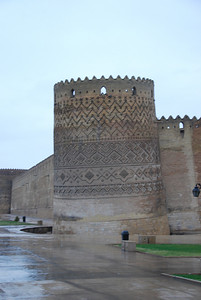 "Arg-e Karim Khan in Shiraz which was built in the mid-1700s. The castle  four 14m high watch towers. One of these towers has a ""Pisa"" style lean to it as its started subsiding into the area that was once the castle bathhouse. The castle was used as a prison during the reign of the Shah."