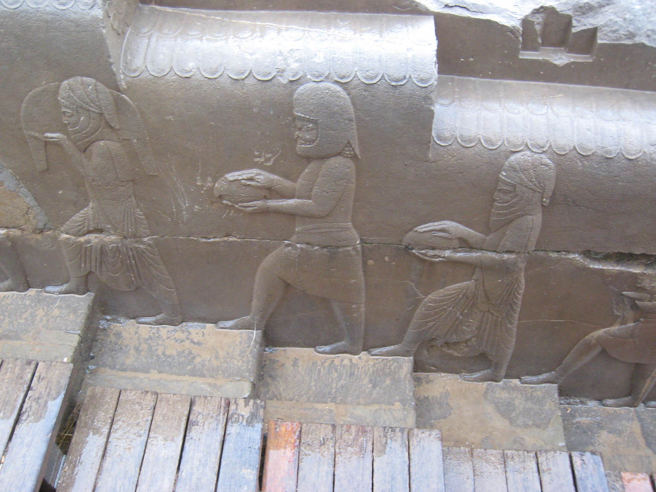 Part of the stone reliefs on a stair case in Persepolis.