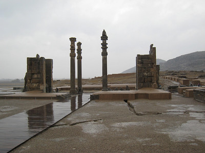 Yes, it was pouring buckets the day we went to Persepolis.  The complex covers 12 hectares and at its peak contained 14 separate palaces. Its built on a huge stone platform at the foot of what's known as Mt Mercy. Construction started in about 518BC under the direction of Darius I.