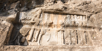 Bishapur: Bas reliefs - defaced by water chanel installed previous century