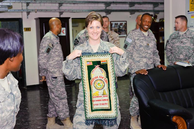 17 AUG 2011 - Farewell to Protocol's TSgt Amanda Harness.  U.S. Army photo by John D. Helms - john.helms@iraq.centcom.mil.