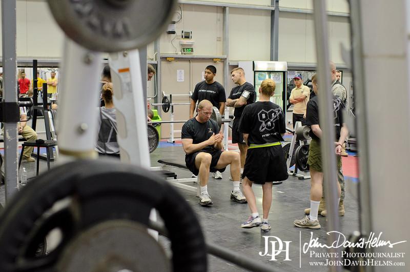 5 AUG 2011 - USF-I DCG A&T powerlifting competition at Scott-Wolfe Gym, FOB Union III, Baghdad, Iraq.  U.S. Army photo by John D. Helms - john.helms@iraq.centcom.mil.