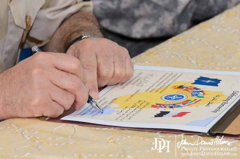 20 AUG 2011 - Nato Training Mission - Iraq Ar Rustamiyah handover ceremony, Babylon Conference Center, FOB Union III, Baghdad, Iraq. U.S. Army photo by John D. Helms - john.helms@iraq.centcom.mil.