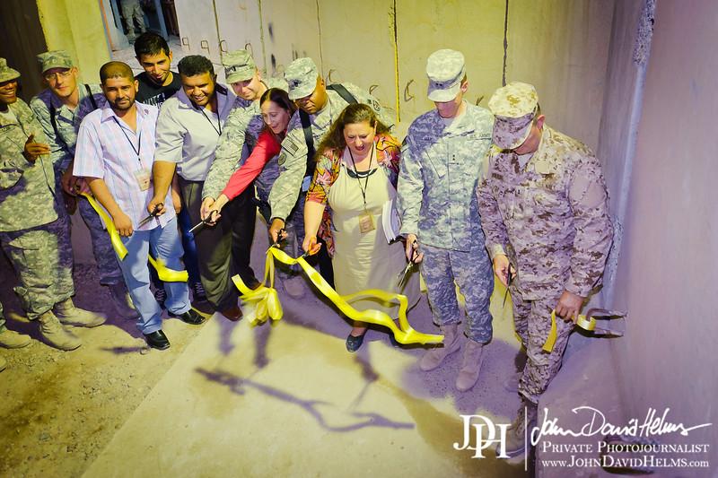 13 AUG 2011 - Ribbon cutting ceremony for new overhead roof at the Robert Hernandez DFAC, FOB Union III, Baghdad, Iraq.  U.S. Army photo by John D. Helms - john.helms@iraq.centcom.mil.