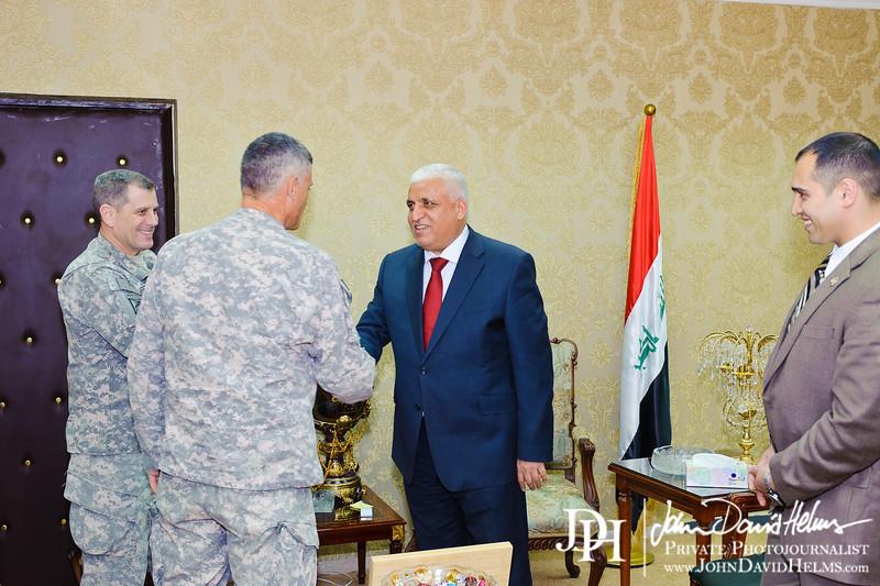 25 SEP 2011 - LTG Ferriter and LTG Caslen meet with Iraqi National Security Advisor Fayyad.  Baghdad, Iraq. U.S. Army photo by John D. Helms - john.helms@iraq.centcom.mil.